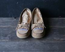 Moccasins Suede Leather and Beads Mens 10 Vintage From Nowvintage on Etsy