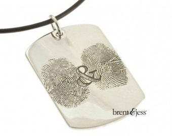 You & Me Forever Sterling Silver Custom  Fingerprint Dog Tag Pendant with Two Fingerprints