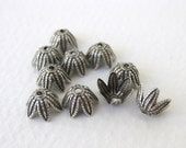 Antiqued Silver Ox Flower Petal Leaf Plated Bead Cap Vintage Style 8mm bcp0031 (8)
