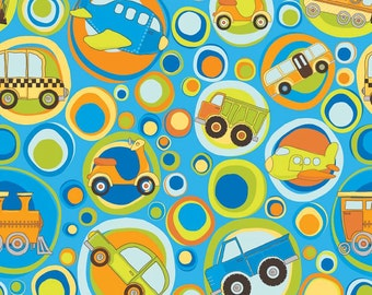 "Riley Blake Designs ""On The Go"" by Bo Bunny, Main fabric on Blue, Airplanes, Cars, Trucks"