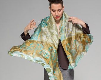 Handpainted silk shawl- Ocean Breeze/ Klimt inspired scarf/ Art Deco silk scarf scarf Mother's Day gift/ Painted Scarf/ Luxury gift women