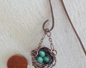NEW - Miniature fairy garden bird's nest on hook - Artisan- Handcrafted -copper-turquoise