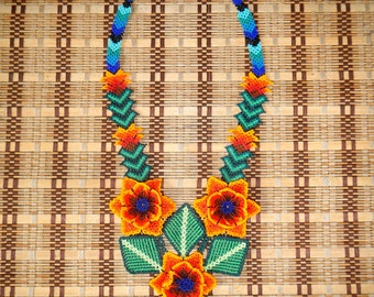 Large Huichol Peyote Stitch Beaded Necklace