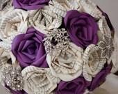 Purple Paige Book Page Paper Rose Brooch Bouquet