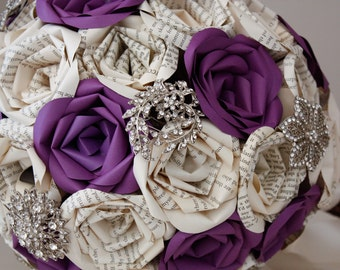 Purple Paige Book Page Paper Rose Brooch Bouquet