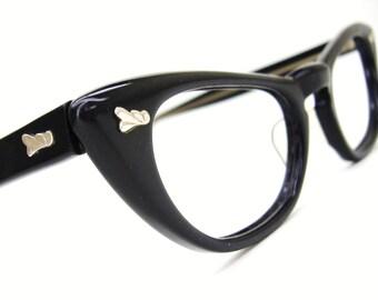 Vintage 1950s Black Cat Eye Glasses Frame