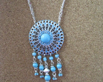 Vintage AVON round silver pendant necklace with turquoise accents Southwest style