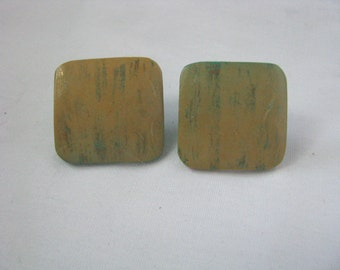 Square pale yellow wood post earrings with green shadings