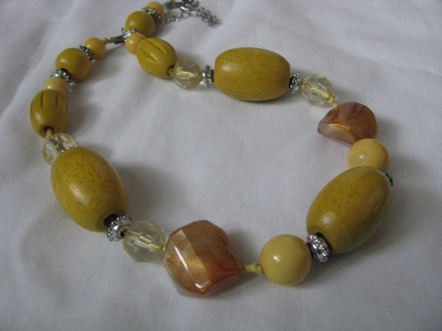 vintage chunky yellow wood bead necklace by quaintcollectibles