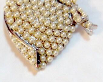 Vintage Faux Pearl Heart Pin Brooch