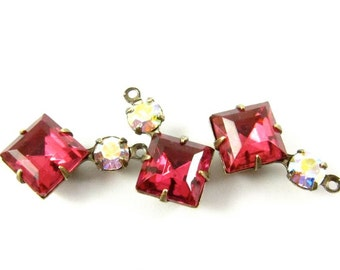 2 - Vintage Glass Square and Round Stones in 1 Ring 2 Stones Antique Brass Prong Settings - Dark Rose & AB Crystal - 18x11mm