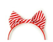 Christmas Hair Bow Clip Barrette Candy Cane Peppermint Red and White Holiday Accessory - As Is