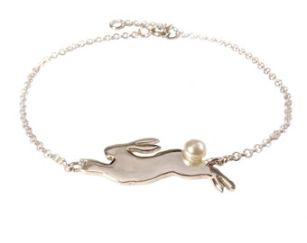 Leaping Sterling Silver Rabbit Bracelet