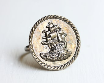 Silver Ship Ring, Ship Ring, Boat Ring, Nautical Ring, Coin Ring, Silver Ring, Vintage Ship Ring, Large Silver Ring, Big Silver Ring