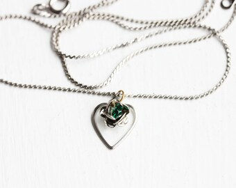 Silver Flower and Heart Charm Necklace