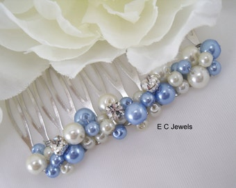 Something Blue Pearl Comb with Rhinestone Accents - Pick your colors
