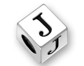 4.5mm Square Letter J bead Sterling Silver, Alphabet Beads