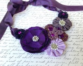 Purple Fabric Flower Adjustable Statement Necklace with Ribbon Tie Closure