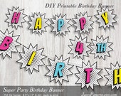 DIY Girly Super Party printable banner comic book style for your little hero PB004 instant download