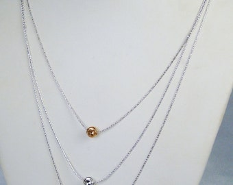 Three Strand Sterling Silver Necklace with Gold, Silver, and Copper Beads