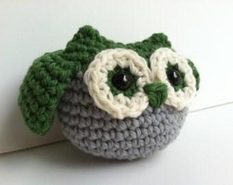 Amigurumi Crochet Pine Tree Green Owl Plush Toy Nursery Decor Kawaii Plush Owl Gift Under 25 Stuffed Animal Owl Woodland Owl Plushie Toy