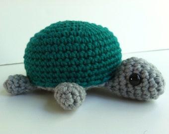 Amigurumi Crochet Turtle Plush Toy -Gray and Teal Kawaii Plush Turtle Nursery Decor Gift Under 25 Tortosie Plushie Stuffed Animal Turtle Toy