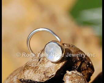 Rainbow Moonstone Nose Stud//Moonstone Nose Ring//Moonstone Nose Stud// Silver Nose Stud//22G/20G/18G//Unique Nose Ring -  Customize