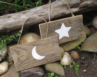Reclaimed Wood Moon and Star Wall Hanging Set - Country Home - Hanging Ornaments - Eco Decor