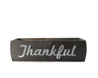 Rustic Thanksgiving Centerpiece Box - Reclaimed Wood - Thankful - Grateful - Grace