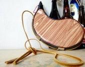 80's Wooden Bota Wine Bag / Wineskin by Bombyx.