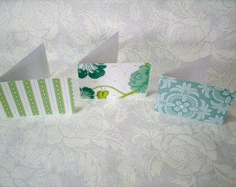7374 // Set of 12 Mini cards in teal & green made with glittered card stock