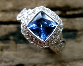 Blue Sapphire Engagement Ring in 18K White Gold with Diamonds in Vintage Inspired Flower Blossoms & Leafs on Vine Motif Size 4