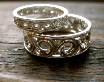 Sterling Silver Scroll Wedding Rings with Detailed Floral Scroll Pattern Size 11 & 7