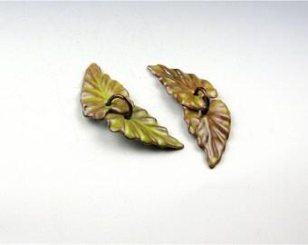 Enameled Ivy Leaf  / Bitter Green Enamel / Made to order