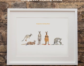 Kangaroos wearing Shoes Print