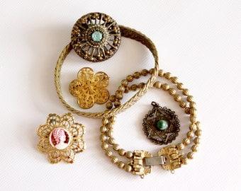 Vintage Jewelry Lot Pins Bracelets Clip Pendant Destash