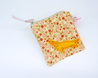 Zipper Pouch Dog, Cute Coin Purse, Handmade Purse, Dog Cotton Pouch, Coin Purse