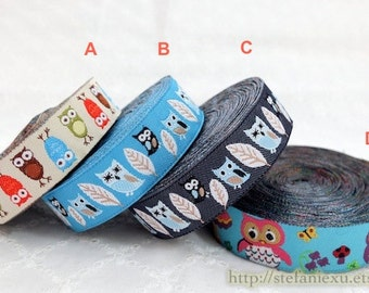 1 Yard Embroidery Sewing Ribbon/Trim - Lovely Colorful Floral Baby Hoot Owls In Mushroom Forest