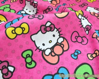 SALE Clearance 1/2 Yard Lovely Colorful Hello Kitty Cat Bows On Bright Pink - Cotton Fabric