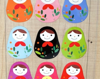 Offset Printing Iron On Transfer - Lovely Colorful Nordic Floral Baby Matryoshka Russian Dolls Nesting Dolls (1 Sheet)