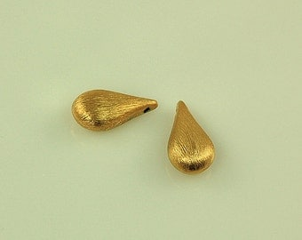 Brushed 24k GOLD VERMEIL Teardrop Textured Beads - 18mm