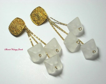 Abstract  Dangle  Earrings Frosted Lucite Geometric Shapes Gold  Greek Key Design  4.25 inch Runway Vintage