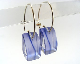 Lilac Earrings, Silhouette Flower, Lucite Dangle Handmade Earrings