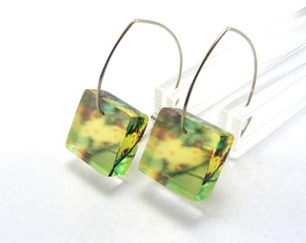Emerald Dangle Earrings, Square Green and Yellow Blossom Pattern, Sterling Silver wires Special Offer
