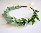 LAST ONE Natural Wedding Leaf Crown, Flower Hair Crown, Greek Goddess Headdress Baby Shower Crown