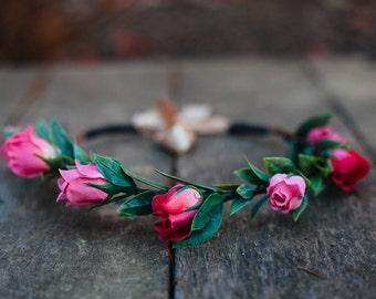 Flower Headband, Pink Rose Flower Crown, Hair Wreath, Bohemian Garden Party