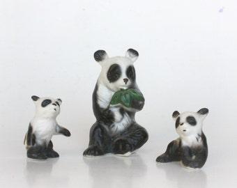 Vintage Bone China Panda Family Panda Bear Figurines