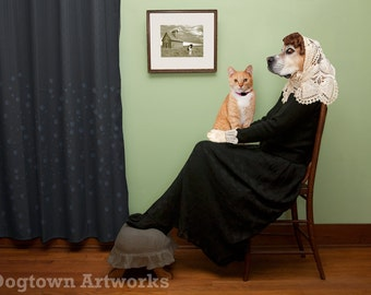 Whistler's Cat, large original photograph, a whimsical boxer dog wearing clothes like Whistler's Mother with a cat