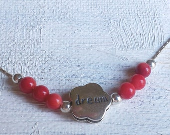 "Sterling silver charm necklace ""dream"" with red corals"
