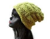 Chunky Knit Beanie - Yellow Green - Warm Wool Winter Hat - Nordic Island Beanie